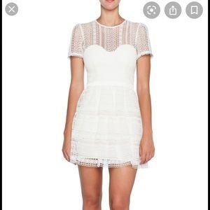 NWT BARDOT ava lace mini dress ivory size 10/L